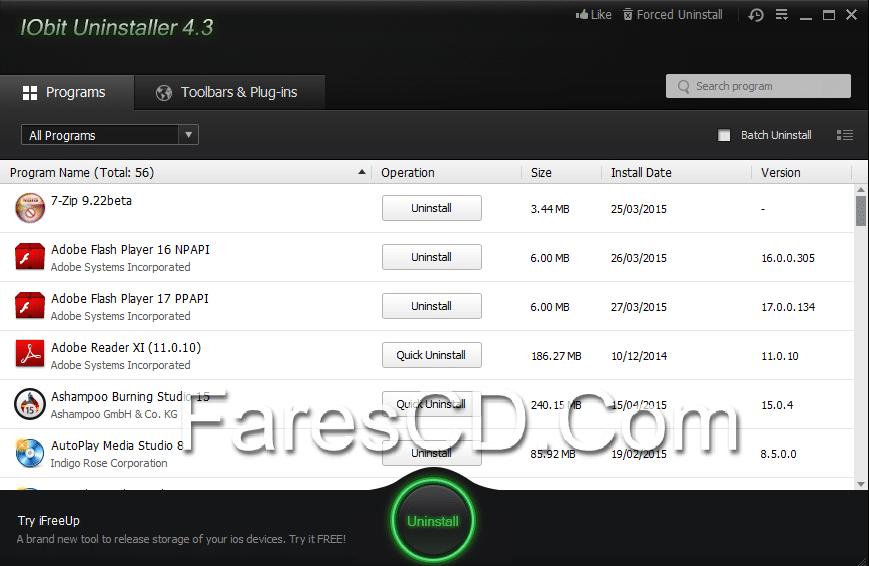 برنامج إزالة تثبيت البرامج بالكامل  Iobit Uninstaller 4.3.0.118 (1)