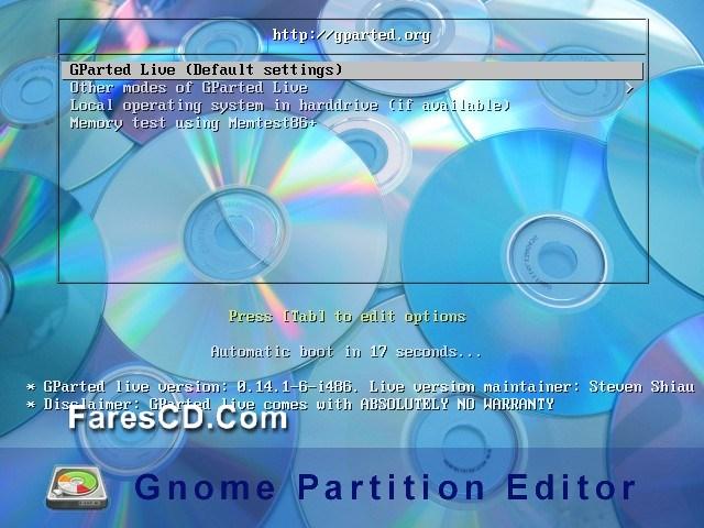 اسطوانة تقسيم وصيانة الهارديسك Gnome Partition Editor (GPartEd) Live 0.24.0-2 (1)