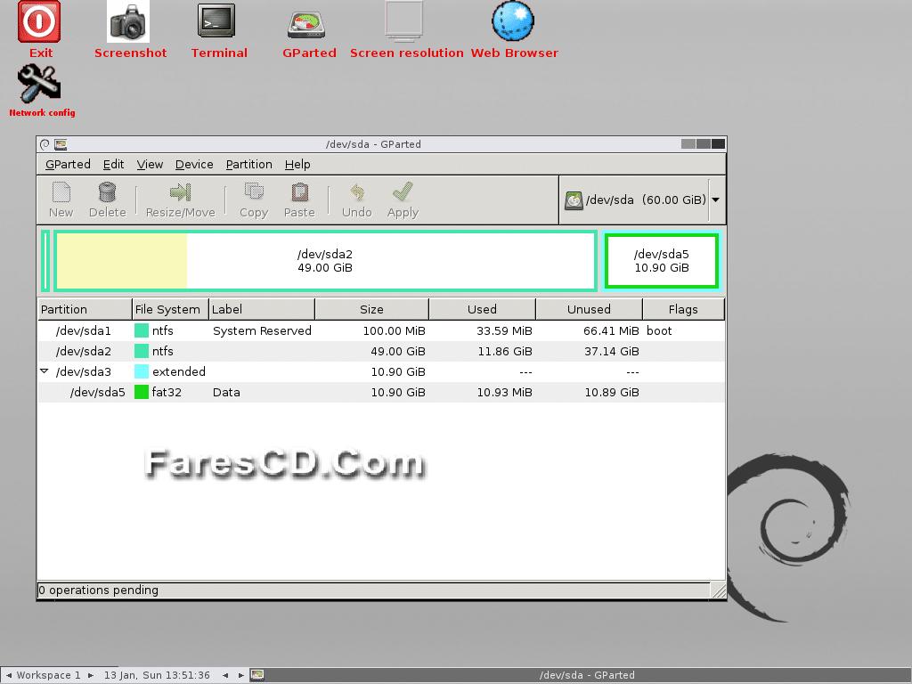 اسطوانة تقسيم وصيانة الهارديسك Gnome Partition Editor (GPartEd) Live 0.24.0-2 (2)
