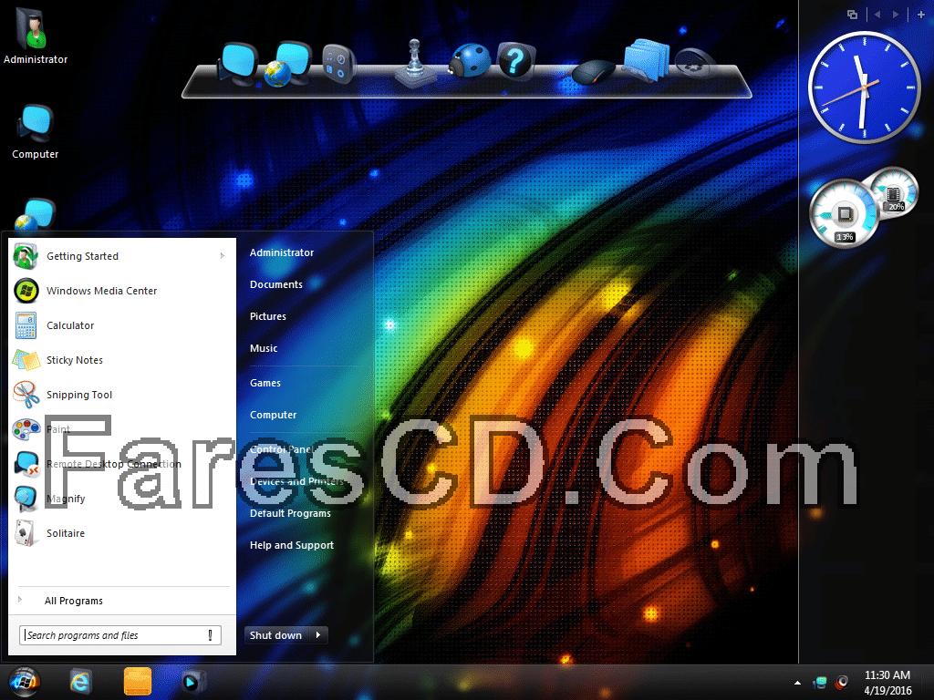 أحدث إصدارات ويندوز سفن المعدلة  Windows 7 Indego Core Lite April x64 (2)