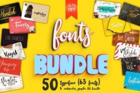 حزمة الخطوط الرائعة | CM – 50 Big Font Bundle