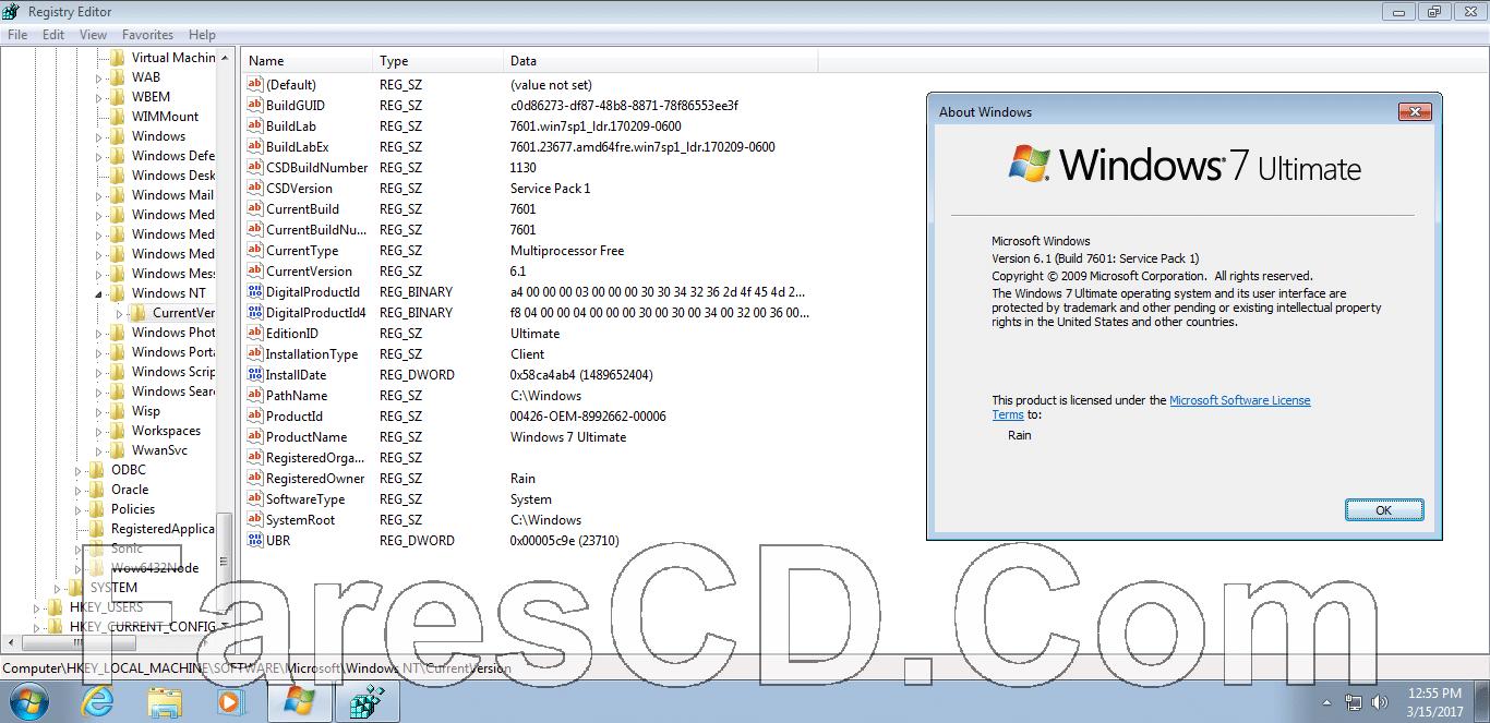 ويندوز سفن ألتميت مفعل | Windows 7 Ultimate Sp1 x86 March 2017  Pre-Activated