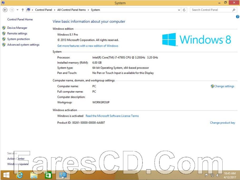 ويندوز 8.1 برو مفعل | Windows 8.1 X64 Pro April 2017 | بـ 7 لغات