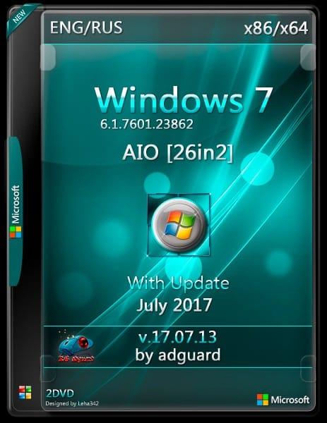 تجميعة إصدارات ويندوز سفن بتحديثات يوليو 2017 | Windows 7 Sp1 X86-X64 Aio 26in2
