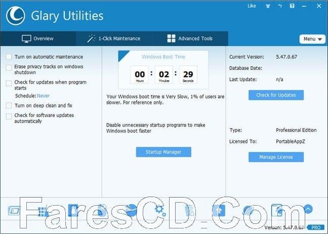 برنامج صيانة وتسريع الويندوز   Glary Utilities Pro 5.86.0.107