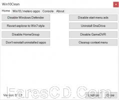أداة إدارة وتهيئة ويندوز 10 | Win10Clean 0.14.1