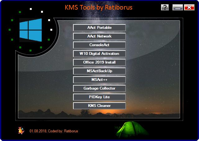 تجميعة تفعيلات الويندوز والأوفيس | Ratiborus KMS Tools 01.08.2018