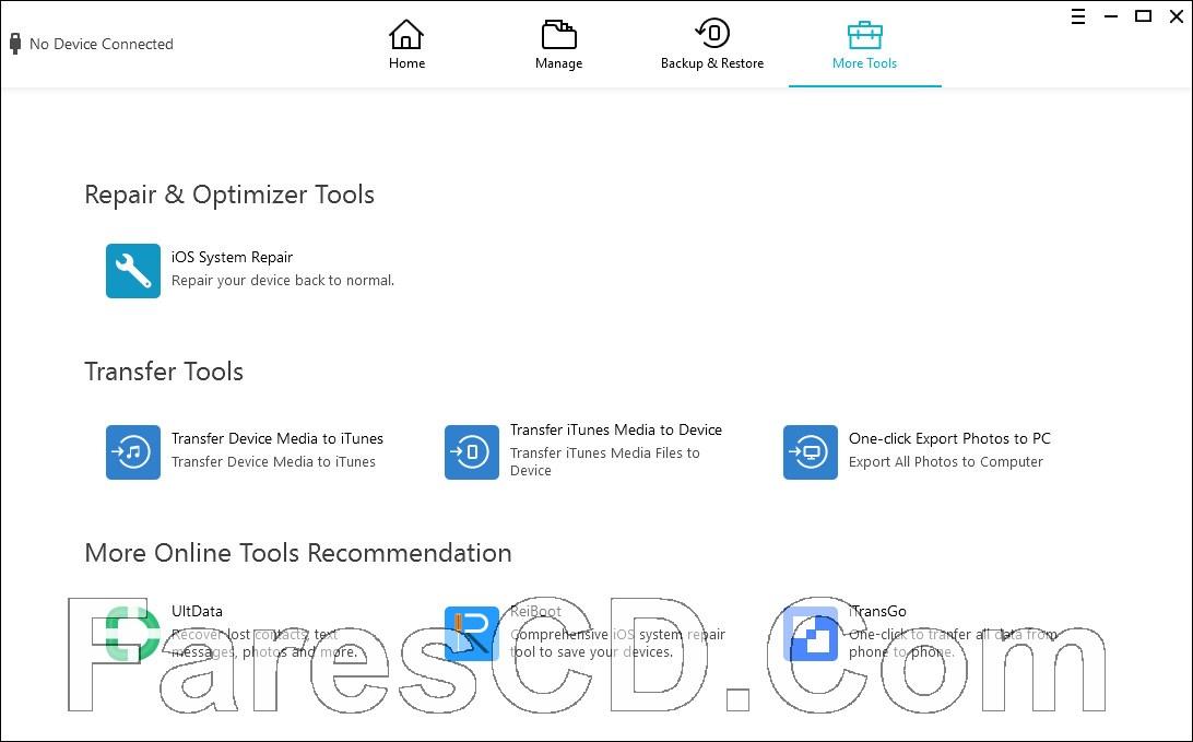 برنامج إدارة بيانات الايفون | Tenorshare iCareFone