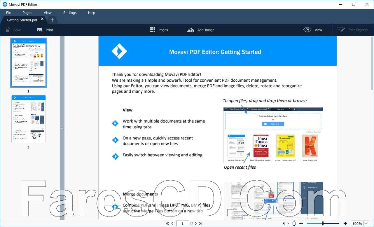 برنامج إنشاء وتحرير ملفات بى دى إف | Movavi PDF Editor