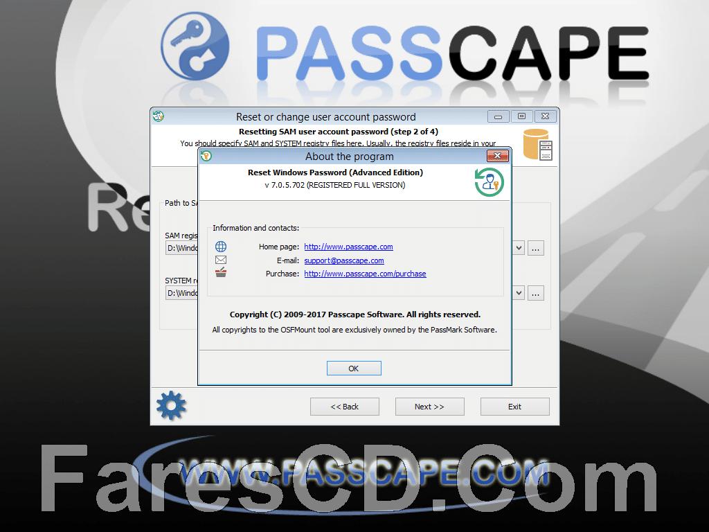 اسطوانة استعادة كلمة السر للويندوز | Passcape Reset Windows Password