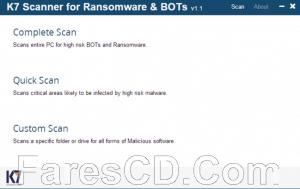 برنامج الحماية من فيروسات الفدية   K7 Scanner for Ransomware & BOTs 1.0.0.83