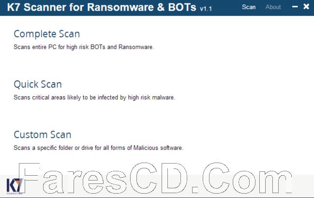 برنامج الحماية من فيروسات الفدية | K7 Scanner for Ransomware & BOTs