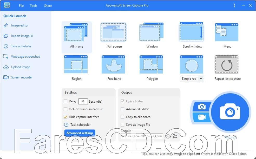 برنامج تصوير الشاشة بالصور والفيديو | Apowersoft Screen Capture Pro