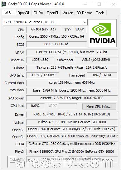برنامج عرض معلومات تفصيلية لكارت الشاشة | GPU Caps Viewer