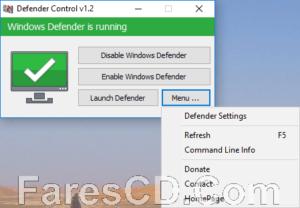 أداة الحماية من البرامج الضارة   Defender Control 2.0